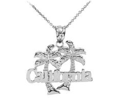 White 10k Gold California Palm Tree Pendant Necklace