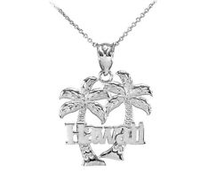 White 10k Gold Hawaii Palm Tree Pendant Necklace