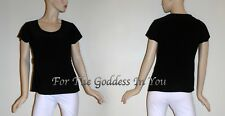 T308 CATO BLACK BEADED ROUND NECKLINE SHORT SLEEVE KNIT TOP SIZE L XL