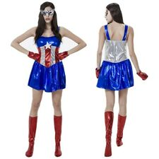 Women Adult Captain Cosplay Costume Superhero Fancy Dress Halloween Party Outfit