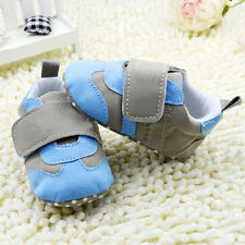 Toddler Baby Boy classic Velcro Soft Sole Crib Shoes Size 0-18 Months