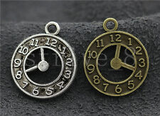 10/40/200pcs Antique Silver/Bronze two-sided Clock Charms Pendant 21x18mm