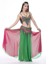 New Performance Belly Dance Costume 3 Pics Bra&Belt&Skirt 32B/C 34B/C  2 Colours