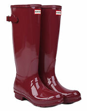 HUNTER ORIGINAL GLOSS TALL BACK ADJUSTABLE UMBER WELLINGTON BOOTS