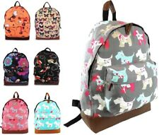 NOVELTY GIRLS BACKPACK SCOTTIE PUG DOG POLKA FLOWER MEDIUM SCHOOL GYM TRAVEL BAG