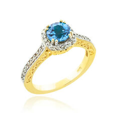 14k Yellow Gold Aquamarine Solitaire Halo Diamond Pave Gold Engagement Ring