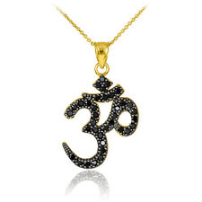 14k Gold Om/Ohm Black CZ Pendant Necklace