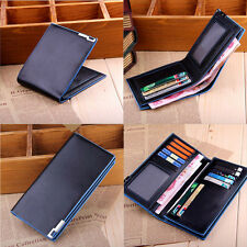 Mens Leather Wallet Black Card Clutch Purse Pockets Cente Bifold Money Clip New