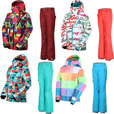 GSOU SNOW WOmens Ladies Ski Suits Snowboard Jacket Coat + Skiing Pants Trousers