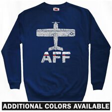 Fly AFF Air Force Airport Sweatshirt - Plane Jet Pilot Crewneck - Men S-3XL