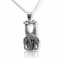 kissing giraffes Necklace - 925 sterling silver - cute animal gift pendant charm