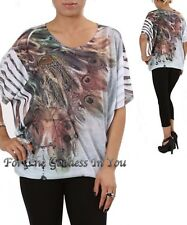 T101 PEACOCK FEATHER RHINESTONE SUBLIMATION DOLMAN SLEEVE TOP WOMENS SZ S M L