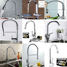 Square Kitchen Bathroom Sink Basin LED Glass Waterfall Swivel Faucet Mixer Tap