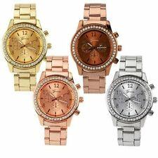 Fashion Luxury 3 Colors Geneva Bling Stainless Steel Quartz Crystal Wrist Watch