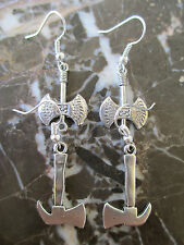 Lot of 2 Pairs-Gothic Emo Silver Mid-evil Hatchets Handcrafted Earrings