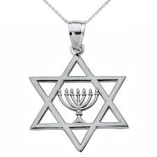 Fine 925 Sterling Silver Star of David with Menorah Pendant Necklace