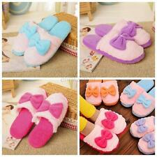 Women Bowknot Winter Warm Plush Anti-slip Slippers Indoor Home Shoes 5 Color E79
