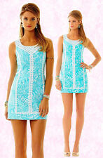 $198 Lilly Pulitzer MacFarlane Shorely Blue Sea Cups Lace Detail Shift Dress
