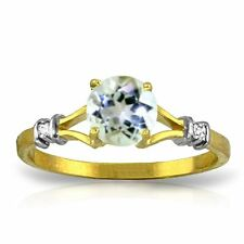 Genuine Aquamarine Round Gemstone & Diamonds Ring 14K. Yellow,  White, Rose Gold