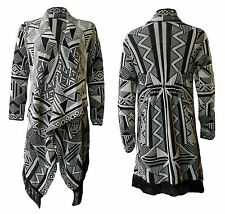 Ladies Cardigan Womens Aztec Tassel Knitted Waterfall Cardigan Wrap Shawl 8-20