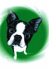 Boston Terrier Print Pet Portrait Dog Breed Art Painting Artist Weeze Mace