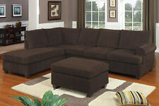 Poundex Bobkona Sectional Sofa Couches Sectionals Set Suede Reversible Chaise