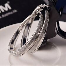 Fashion Women Lady Rhinestone Crystal Hoop Round Big Earrings Ear Stud Jewelry