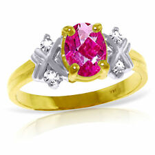 Genuine Pink Topaz Oval Gemstone & Diamonds Ring in 14K Yellow, White, Rose Gold