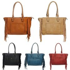 Handbag Purse Fringe Decor Faux Leather Shoulder Bag Strap Long Fashion Inspired