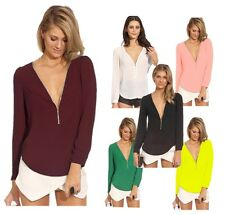 Sexy Women Zipper Deep V Neck Chiffon Long Sleeve Shirt Casual Tops Blouse Club
