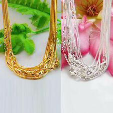 5/10Pcs Silver/Gold Plated Lobster Clasp 1mm Snake Chain Necklace Jewelry 43cm