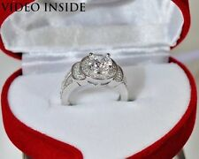 Round Cut Engagement Diamond Ring Solid Sterling Silver 925