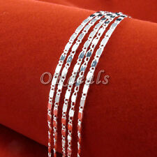 Wholesale 1pc 925 Sterling Silver Plated 2mm Charm Curb Flat Chain Necklace New