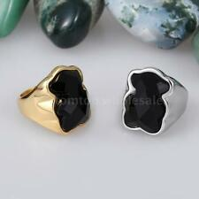 Fashionable Bear Ring 316L Stainless Steel Titanium Silver Gold Plated Glass