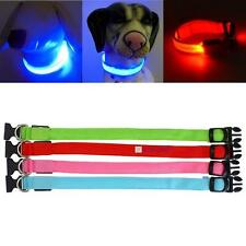 Adjustable LED Dog Night Safety Pet Flashing Light Cat Nylon Leash Collar NEW KJ