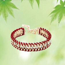 Women Fashion Alloy Woven Leather Rhinestone Bangle Cuff Jewelry Thick Bracelet