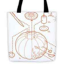 EXPLODED JACK-O-LANTERN Clever Exploded View Pumpkin Reusable Shopping Tote Bag
