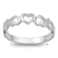 FAMA 925 Sterling Silver Love Hearts Ring Band Size 5-8