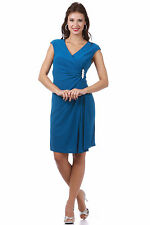 V Neck Broach Pleated Knee Length Mother Of Bride Short Formal Cocktail Dress