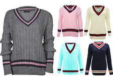 New Women Cricket Jumper Cable Knitted Baggy Pullover Sweater V Neck Long Sleeve
