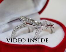 LADY** 3 PCS Wedding Ring Set Engagement Ring Platinum Made in Italy