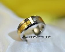 18K Gold fibre Inlay  Luxury Unisex Tungsten Engagement Mens Womens Ring