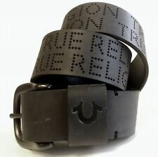 True Religion Jeans Men's Perforated Leather Belt Black *RUNS SMALL TUS150036