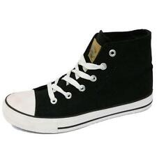 BOYS GIRLS KIDS BLACK CANVAS HI-TOP BASEBALL BOOTS TRAINER SHOES PUMPS SIZE 13-5