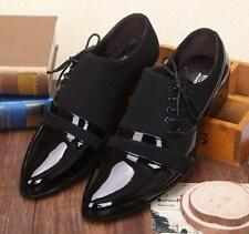 Mens Casual faux patent leather Oxford black Formal lined business Dress Shoes