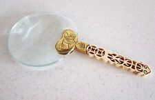Vintage Magnifying Glass Bone Handle Brass Accent Hand Carved Beautiful