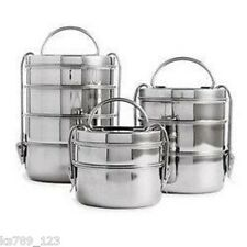Round Stainless Steel Tiffin Box Indian Lunchbox Picnic BBQ 2 or 3 or 4 Tier