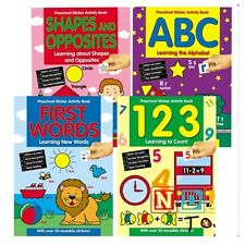 Preschool Activity Books Educational Learning Sticker Books ABC,123,FIRST WORDS