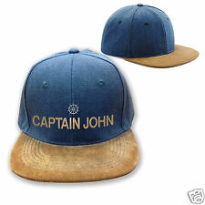 PERSONALISED CAPTAIN snapback rapper CAP HAT - retro blue & suede embroidered