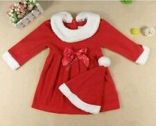 Red Baby Toddler Girl Christmas Santa Outfit Bowknot Dress with Hat Xmas Clothes
